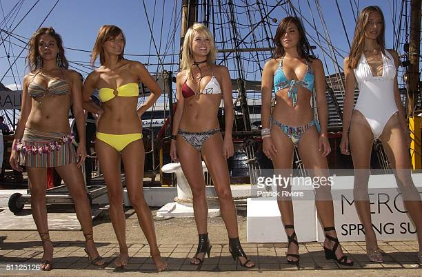 Models JulieAnne Arbolino wearing a tripy bikini by Jets Blue label Julie Fitzgerald Amy Erbacher and Amanda Wasman at the media launch of the up...