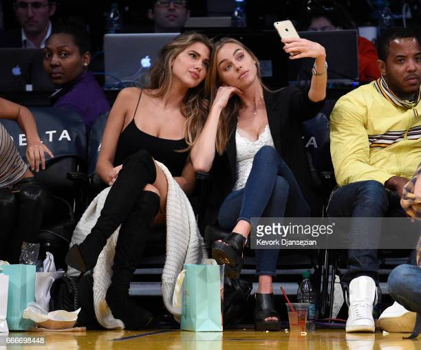 Models Kara Del Toro and Elizabeth Turner attend the Minnesota Timberwolves and Los Angeles Lakers basketball game at Staples Center April 9 in Los...