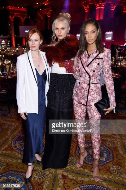 Models Karen Elson Andreja Pejic and Joan Smalls attend the 2018 amfAR Gala New York at Cipriani Wall Street on February 7 2018 in New York City