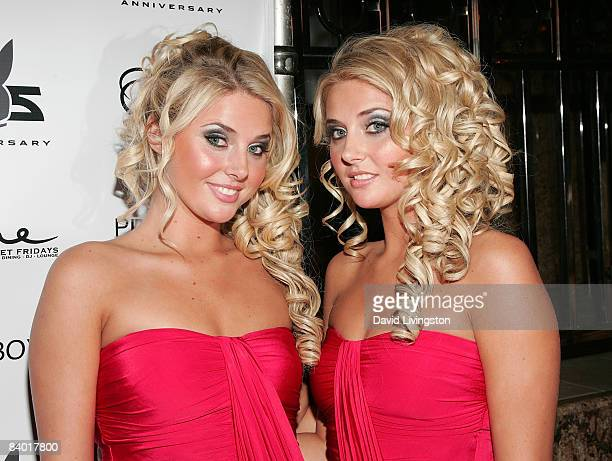 Models Karissa Shannon and Kristina Shannon attend the Playboy 55th anniversary playmate celebration at ONE Sunset on December 12 2008 in West...