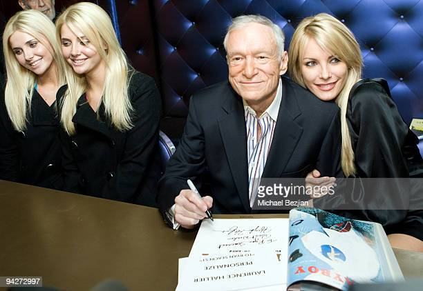 Models Karissa Shannon and Kristina Shannon playboy founder Hugh Hefner and model Crystal Harris attend the Hugh Hefner Autographs Limited Edition...