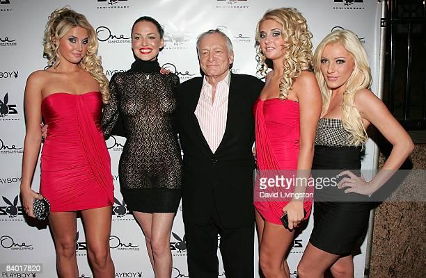 Models Karissa Shannon and Kristina Shannon Playmate Dasha Astafieva Hugh Hefner and guest attend the Playboy 55th anniversary playmate celebration...
