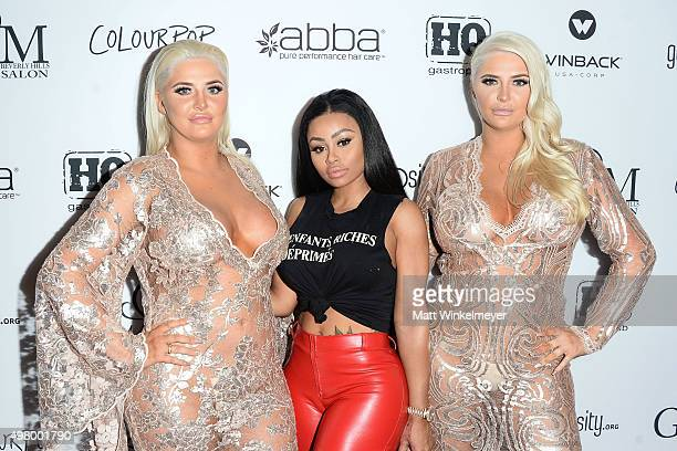 Models Karissa Shannon Blac Chyna and Kristina Shannon arrive at the GLAM Beverly Hills salon grand opening and ribbon cutting celebration at GLAM...