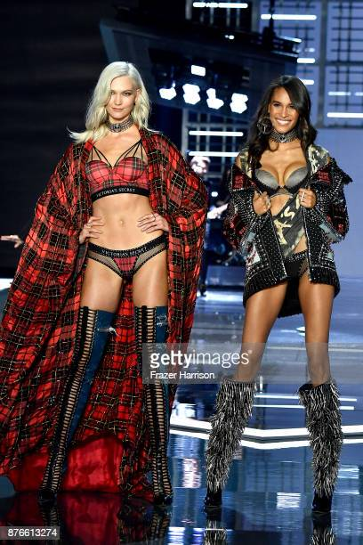 Models Karlie Kloss and Cindy Bruna walk the runway during the 2017 Victoria's Secret Fashion Show In Shanghai at MercedesBenz Arena on November 20...