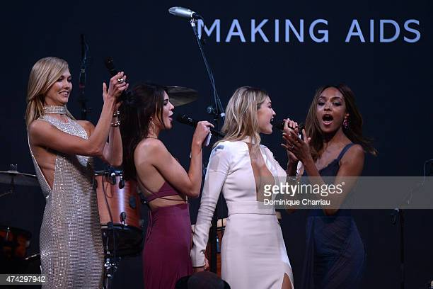 models Karlie Kloss Kendall Jenner Gigi Hadid and Jourdan Dunn onstage during amfAR's 22nd Cinema Against AIDS Gala Presented By Bold Films And Harry...