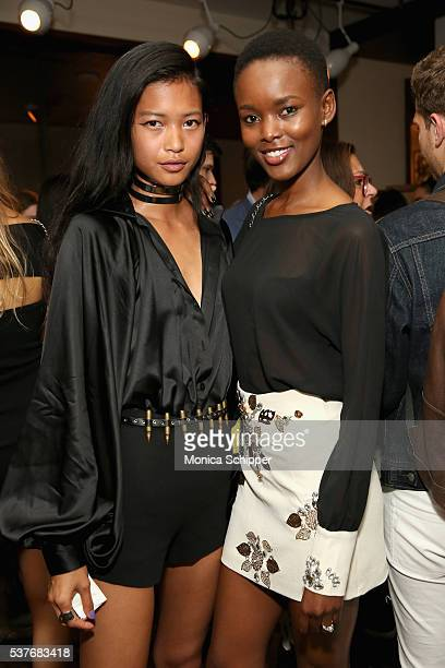Models Karmay Ngai and Flaviana Matata attend the The Daily's Summer premiere party at the Smyth Hotel on June 2 2016 in New York City