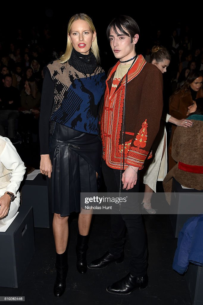 Models Karolina Kurkova (L) and Harry Brant attend the Prabal Gurung Fall 2016 fashion show during New York Fashion Week: The Shows at The Arc, Skylight at Moynihan Station on February 14, 2016 in New York City.