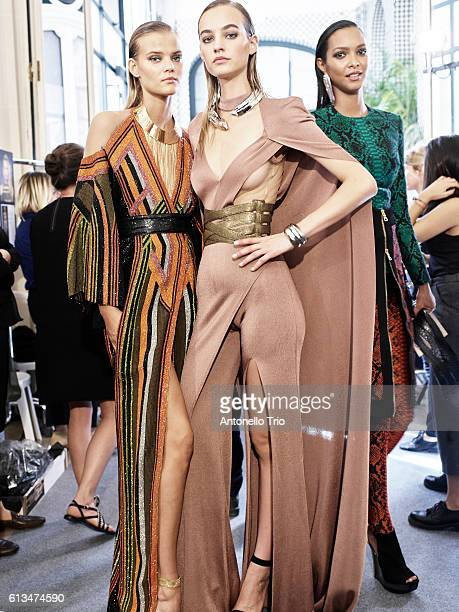 Models Kate Grigorieva and Maartje Verhoef poses prior the Balmain show as part of the Paris Fashion Week Womenswear Spring/Summer 2017 on September...