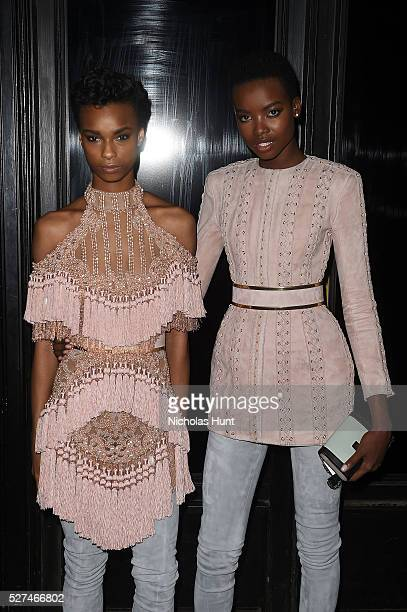 Models Kayla Scott and Maria Borges attend the Balmain and Olivier Rousteing after the Met Gala Celebration on May 02 2016 in New York New York