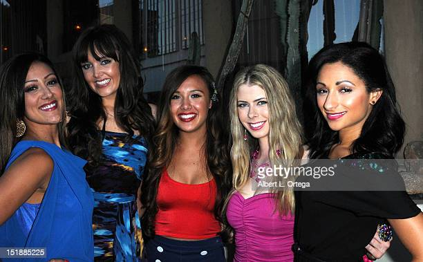 Models Kelli Huarte Kym Kral Julia Fong Kristin McCoy and Caitlin Marie arrives for the Viewing Party For The Flirty 30 Fox's Take Me Out held at El...