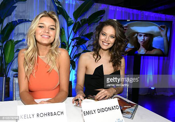 Models Kelly Rohrbach and Emily DiDonato sign autographs at the Sports Illustrated Swimsuit 2016 Swim City at the Altman Building on February 15 2016...