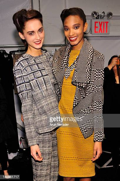 Models Kelsey Van Mook and Rel Dade seen backstage at the Lela Rose fashion show during Fall 2012 Fashion Week on February 12 2012 at The Studio in...