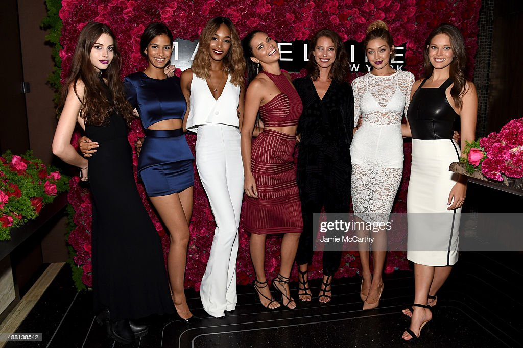 Models Kemp Muhl, Cris Urena, Jourdan Dunn, Adriana Lima, Christy Turlington, Gigi Hadid and Emily DiDonato attend Maybelline New York Celebrates New York Fashion Week at Sixty Five on September 13, 2015 in New York City.