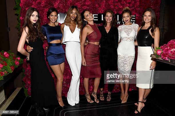Models Kemp Muhl Cris Urena Jourdan Dunn Adriana Lima Christy Turlington Gigi Hadid and Emily DiDonato attend Maybelline New York Celebrates New York...