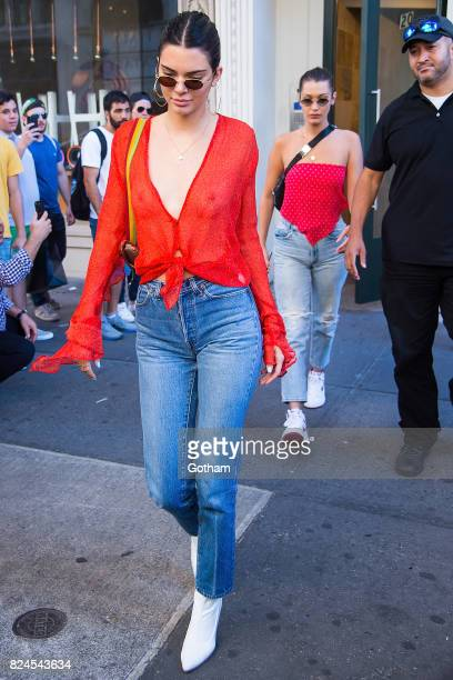 Models Kendall Jenner and Bella Hadid are seen in Chelsea on July 30 2017 in New York City