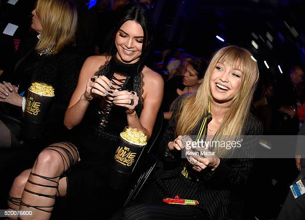 Models Kendall Jenner and Gigi Hadid attend the 2016 MTV Movie Awards at Warner Bros Studios on April 9 2016 in Burbank California MTV Movie Awards...