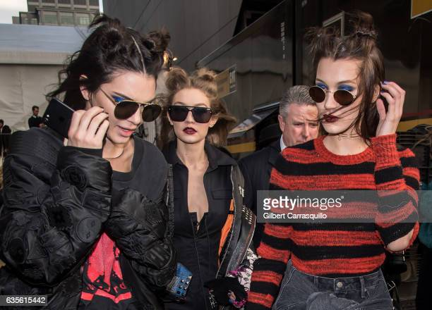 Models Kendall Jenner Gigi Hadid and Bella Hadid are seen leaving the Anna Sui fashion show during New York Fashion Week The Shows at Gallery 1...