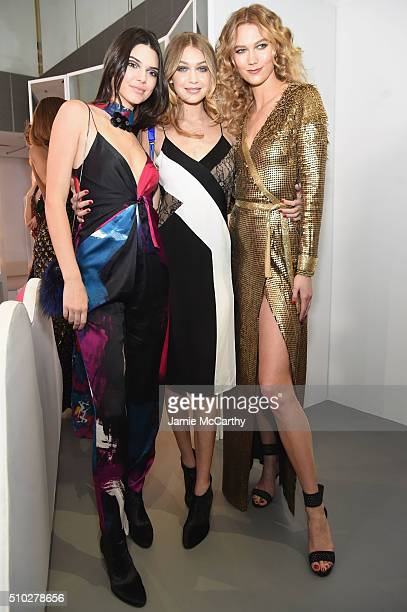 Models Kendall Jenner Gigi Hadid and Karlie Kloss pose at the Diane Von Furstenberg Fall 2016 show during New York Fashion Week on February 14 2016...
