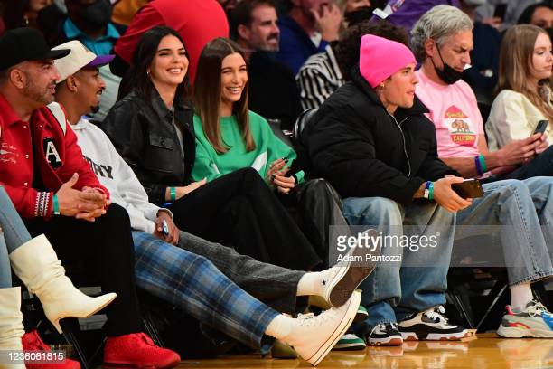 Models Kendall Jenner, Haley Bieber and Justin Bieber takes in the game of the Phoenix Suns against the Los Angeles Lakers on October 22, 2021 at...