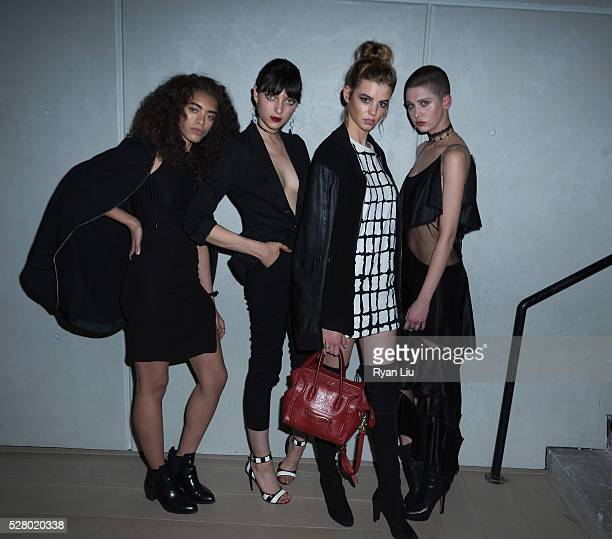 Models Kiara Barnes Sarah Engelland guest and Ava Mcavoy attend the DKNY x New Museum Celebrate The New Women's Project at Spring Place on May 3 2016...