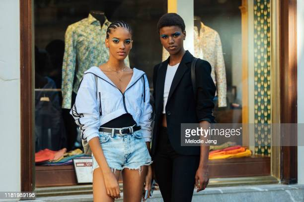 Models Kimberly Gelabert and Yorgelis Marte after the Valentino show during Couture Fashion Week Fall/Winter 2019 on July 03, 2019 in Paris, France.