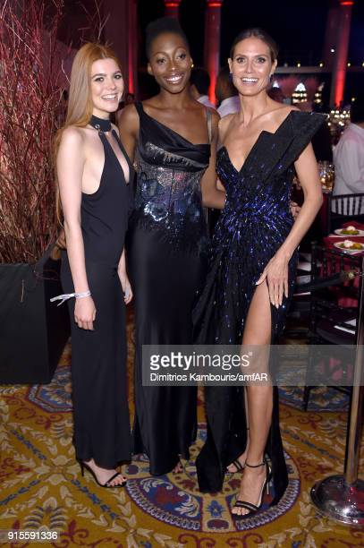 Models Klaudia Anna Giez Oluwatoniloba DreherAdenuga ad Heidi Klum attends the 2018 amfAR Gala New York at Cipriani Wall Street on February 7 2018 in...
