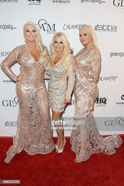 Models Kristina Shannon and Karissa Shannon arrive at the GLAM Beverly Hills salon grand opening and ribbon cutting celebration at GLAM Salon Beverly...