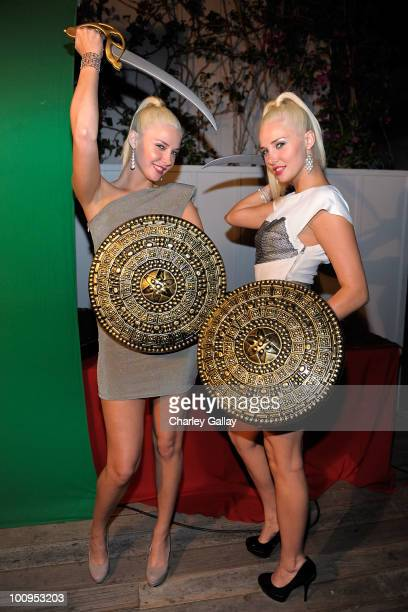 Models Kristina Shannon and Karissa Shannon attend the launch of the Prince of Persia video game presented by Ubisoft and Break Media at Sky Bar on...