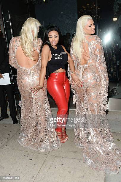 Models Kristina Shannon Blac Chyna and Karissa Shannon arrive at the GLAM Beverly Hills salon grand opening and ribbon cutting celebration at GLAM...