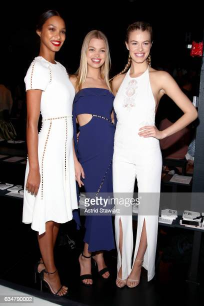 Models Lais Ribiero, Daphne Groeneveld and Hailey Clauson attend the Jonathan Simkhai collection during, New York Fashion Week: The Shows at Gallery...