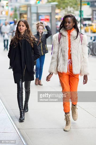 Models Laissa Medeiros and Leomie Anderson attend the 2016 Victoria's Secret Fashion Show call backs on October 24 2016 in New York City