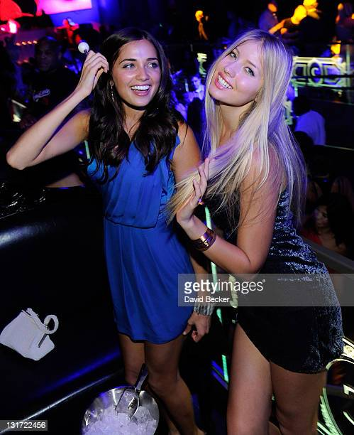 Models Larisa Fraser and Choice Gray attend the Chateau Nightclub & Gardens at the Paris Las Vegas on April 2, 2011 in Las Vegas, Nevada.