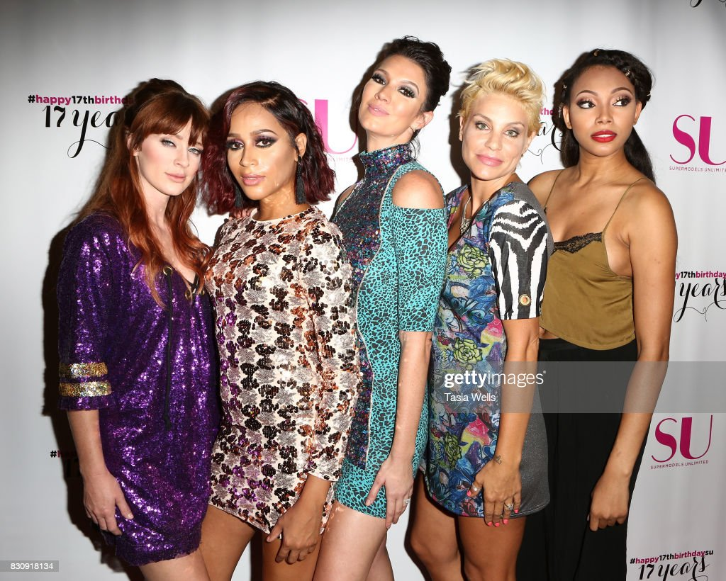 Models Laura Kirkpatrick, Isis King, Brittany Brower, Lisa Marie D'Amato Friedman and Bianca Golden at SU Magazine's 17th Anniversary Celebration on August 12, 2017 in Hollywood, California.