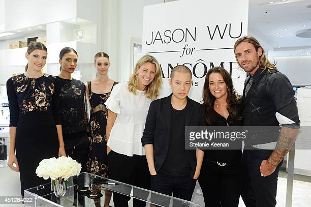 Models Lauren Stephens Jason Wu Stacy Mackler and Darais attend Saks Fifth Avenue Presents Limited Edition Jason Wu For Lancome PreFall 2014...
