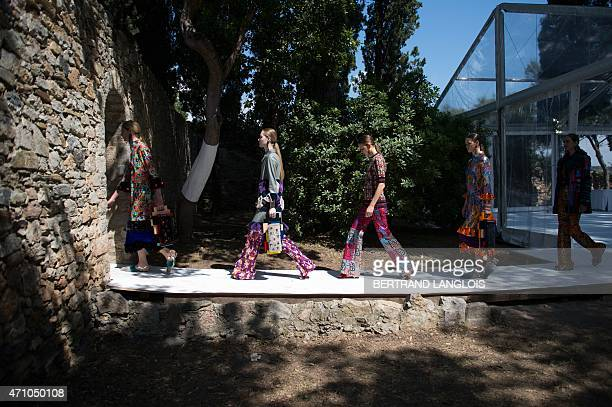 Models leave after presenting creations of Finnish designer Sophie Salekari to the jury during the 30th edition of the International Festival of...