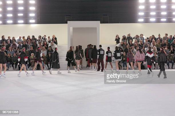 Models leaving the runway at the end of the Alexander Wang Resort Runway show June 2018 New York Fashion Week on June 3 2018 in New York City