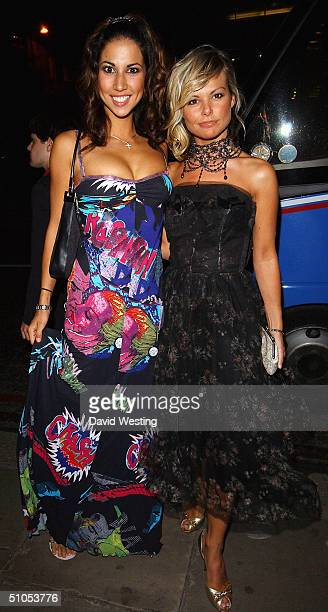 Models Leilani and Jakki Degg leave the UK film premiere after Party of SpiderMan 2 at the Old Billingsgate Market on July 12 2004 in London