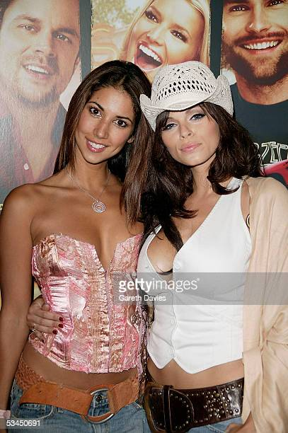Models Leilani Dowding and Jerri Byrne arrive at the UK Premiere of The Dukes Of Hazzard at Vue West End on August 22 2005 in London England