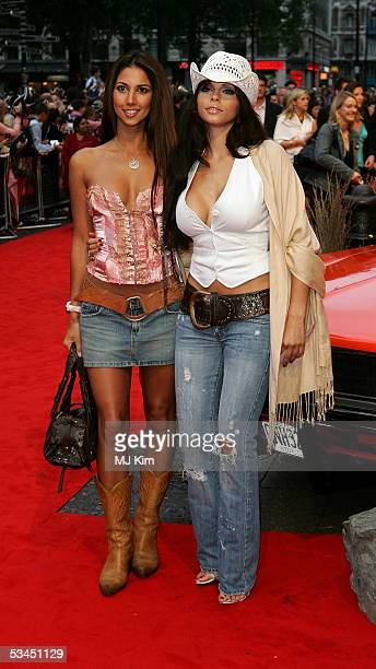 Models Leilani Dowding and Jerri Byrne arrive at the UK premiere of the new film The Dukes Of Hazzard at Vue Leicester Square on August 22 2005 in...