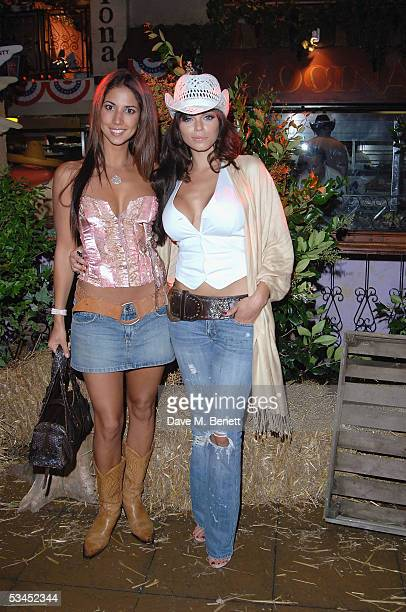 Models Leilani Dowding and Jerri Byrne attend the after party for the UK Premiere of The Dukes Of Hazzard at the Texas Embassy Cantina on August 22...