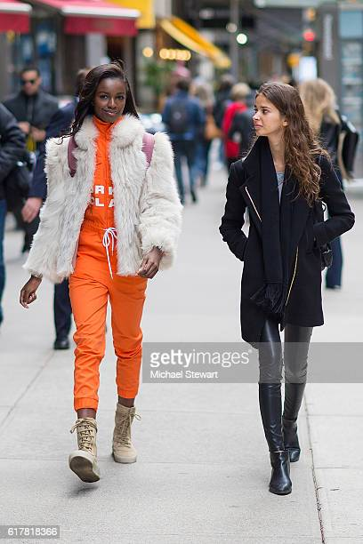 Models Leomie Anderson and Laissa Medeiros attend the 2016 Victoria's Secret Fashion Show call backs on October 24 2016 in New York City