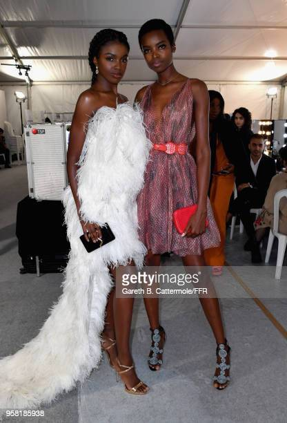 Models Leomie Anderson and Maria Borges backstage ahead of Fashion for Relief Cannes 2018 during the 71st annual Cannes Film Festival at Aeroport...