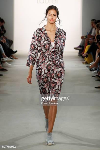 Models Leonie Scheunemann walks the runway at the Laurel show during the MercedesBenz Fashion Week Berlin Spring/Summer 2018 at Kaufhaus Jandorf on...