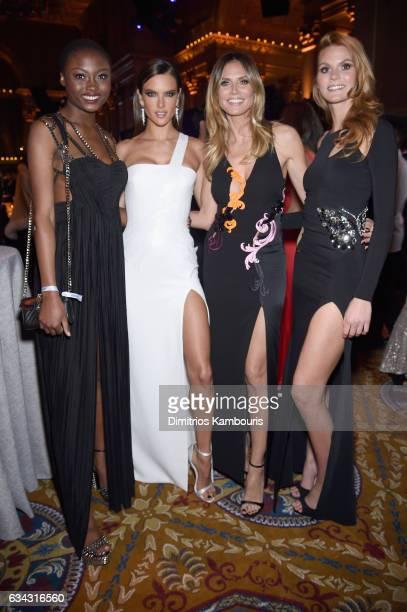 Models Leticia WalaNtumba Alessandra Ambrosio Heidi Klum and Lynn Petertonkoker attend the 19th Annual amfAR New York Gala at Cipriani Wall Street on...