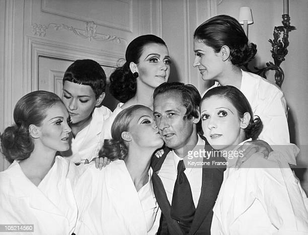 Models Liane Christel Jessica Gunilla Sabine And Prunella Congratulating The Creator Marc Bohan At The Close Of The Christian Dior FallWinter...