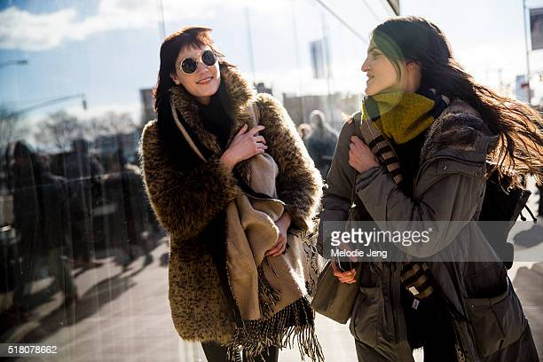 Models Liene Podina and Serena Archetti exit the Tibi show at Skylight 60 Tenth during New York Fashion Week Women's Fall/Winter 2016 on February 13...