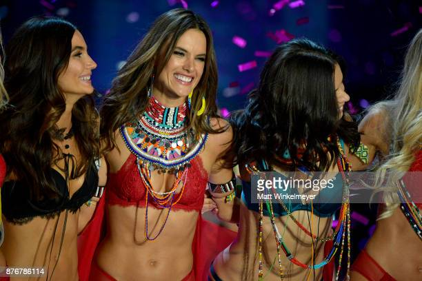 Models Lily Aldridge Alessandra Ambrosio and Adriana Lima walk the runway during the 2017 Victoria's Secret Fashion Show In Shanghai at MercedesBenz...