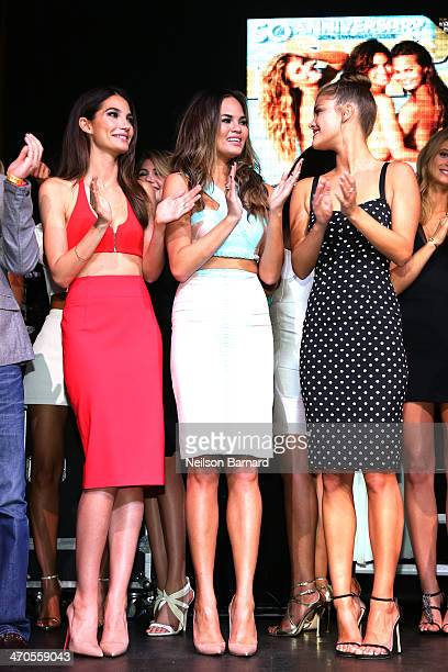 Models Lily Aldridge Chrissy Teigen and Nina Agdal onstage at Club SI Swimsuit at LIV Nightclub hosted by Sports Illustrated at Fontainebleau Miami...