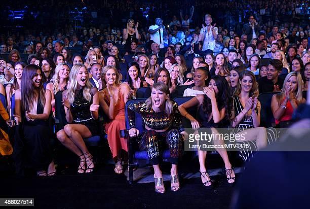 Models Lily Aldridge Martha Hunt Karlie Kloss recording artist Taylor Swift actress Serayah and actress/singer Selena Gomez attend the 2015 MTV Video...