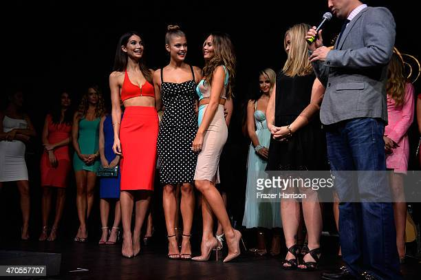 Models Lily Aldridge Nina Agdal and Chrissy Teigen onstage at Club SI Swimsuit at LIV Nightclub hosted by Sports Illustrated at Fontainebleau Miami...